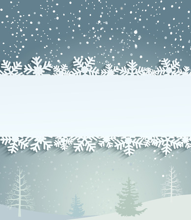 the inscription: Christmas background with white snowflakes and frame with inscription