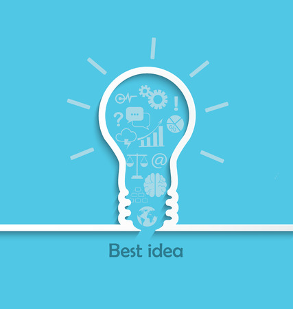 Concept of big ideas and inspiration innovation and invention, effective thinking, text, vector.