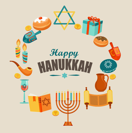 gelt: Happy Hanukkah card template or banner or flyer.