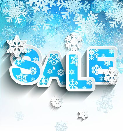 the inscription: Winter sale inscription in paper style on bright blue background with snowflakes, vector illustration.