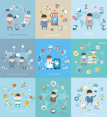 health care analytics: Flat design vector concepts for business, finance, strategic management, natural resources, consulting, digital, commerce, great idea, medical care and healthy stylelife.