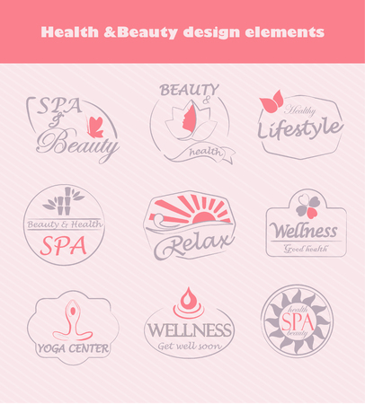 beauty spa: Set of flat labels for beauty, spa and fashion, vector.
