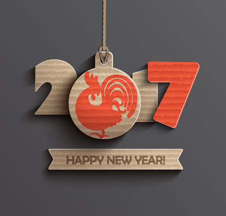 Happy New Year 2017. Year of roster 2017 with ribbon and text happy new year. Vector illustration. Иллюстрация
