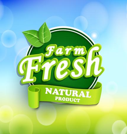 Farm fresh, organic food label and badge vector.