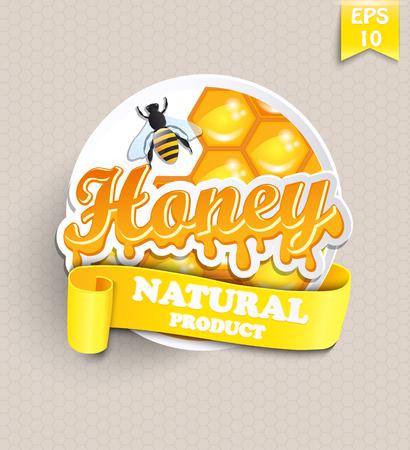 ステッカー蜂蜜、ハニカム、蜂のテキスト - あなたのデザインのテンプレートのリボンとベクトルします。