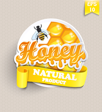 Sticker with honey, honeycomb, bee and ribbon for your text - template for your design, vector.