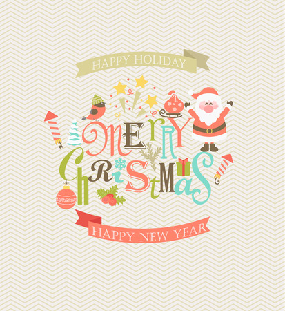 the inscription: Christmas flat vector illustration. A set of flat design elements with a stylish inscription merry Christmas. Illustration