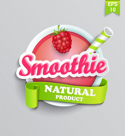 Raspberry smoothie sticer with ribbon Vector illustration.