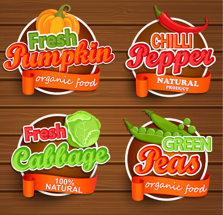 Farm fresh, organic food label - chilli pepper, pumpkin, cabbage, green peas badges or seals on the wooden background, vector illustration.