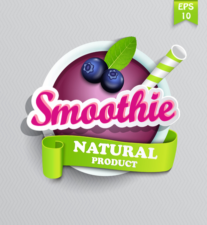 Blueberry smoothie sticer with ribbon and mint leaf. Vector.