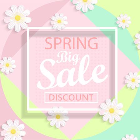 Modern geometric pastel spring sale design. Vector illustration. Stock Illustratie