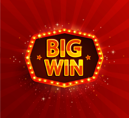 Big win retro banner with glowing lamps. Zdjęcie Seryjne - 72069593