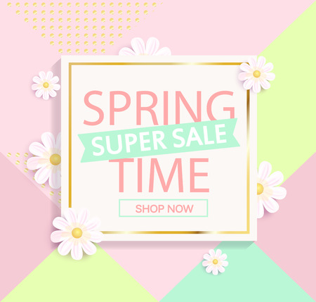 Spring sale geometric background.