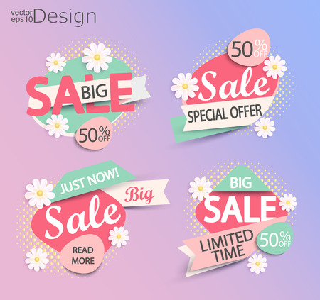 Sale - set of fashion color modern labels. Illustration