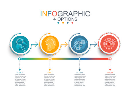 Vector illustration line infographic template with 3D circles paper label.