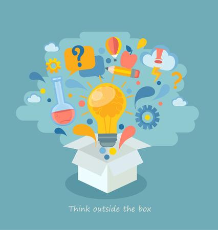 Think outside the box, vector illustration. Иллюстрация