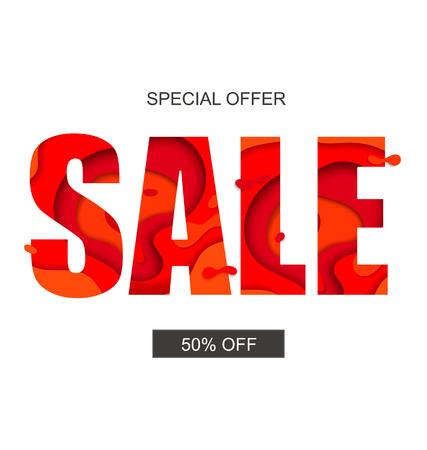 Sale banner with special offer, vector. Ilustração