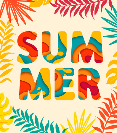 Summer card with tropical leaves on background. 矢量图像