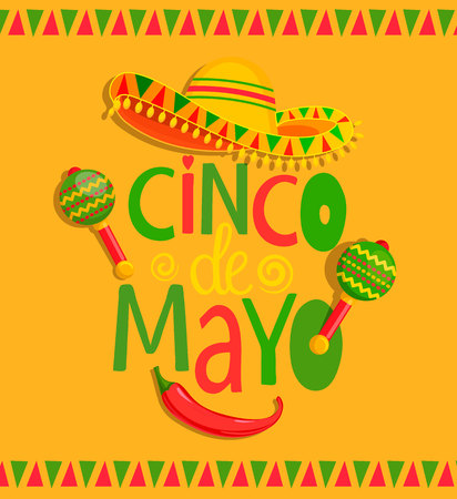 Hand drawn lettering - Cinco De Mayo, poster, banner, greeting card with sombrero, maracas and chili, for announcement, invitation, party.