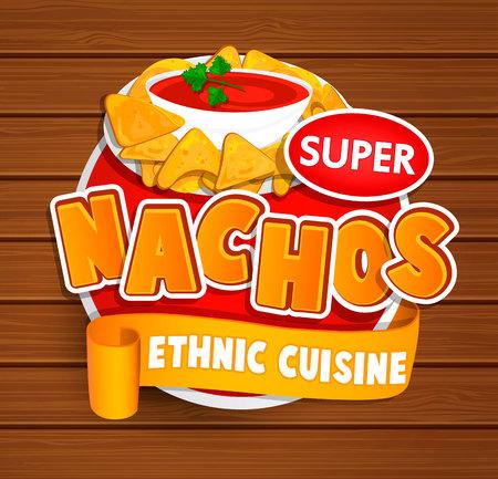 chips and salsa: Nachos ethnic cuisine logo.