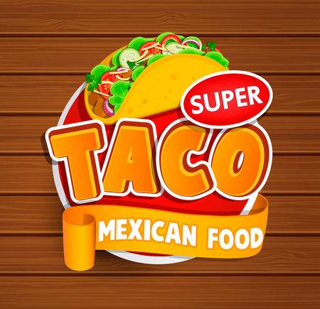 Logotipo mexicano del alimento del Taco y etiqueta o etiqueta engomada del alimento. Concepto de comida mexicana, el diseño de productos tradicionales para las tiendas, los mercados.Vector ilustración.