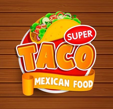 Taco mexican food logo and food label or sticker. Concept of mexican food, traditional product design for shops, markets.Vector illustration.