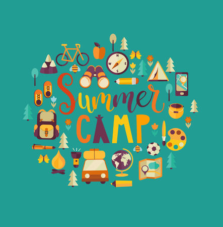 Summer Camp Holiday and Travel themed. Camp poster in flat style, vector illustration. Handdrawn Lettering.