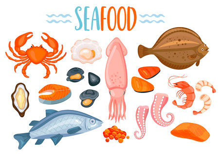 Set of seafod icons in cartoon style.