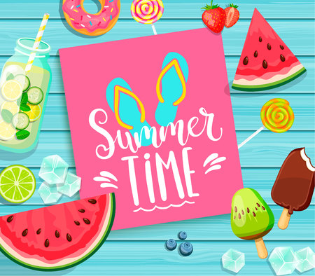 Summer time lettering on blue wooden background.