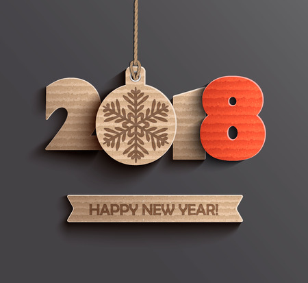 happy new year text: Happy new year 2018 design.