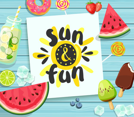 Sun and Fun card on blue wooden background.