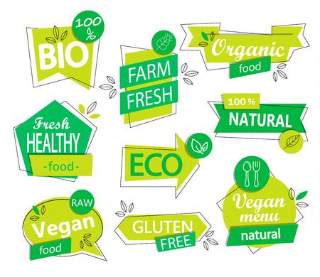 A Vector set of bio, eco, organic stickers or logos. Illustration
