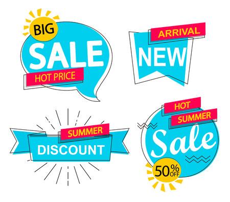 Set of sale, discounts and new arrivals labels. Illustration