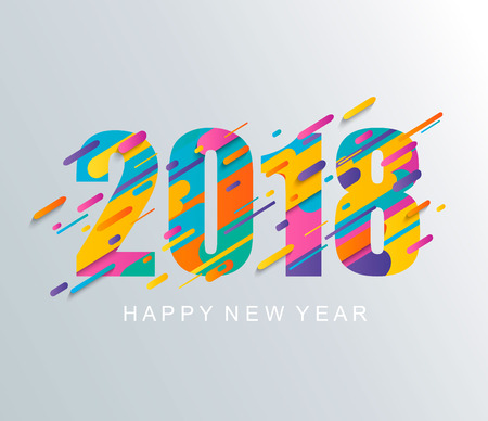 Modern Happy New Year 2018 design card.