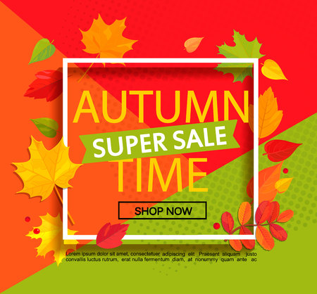 Autumn super sale banner. 向量圖像