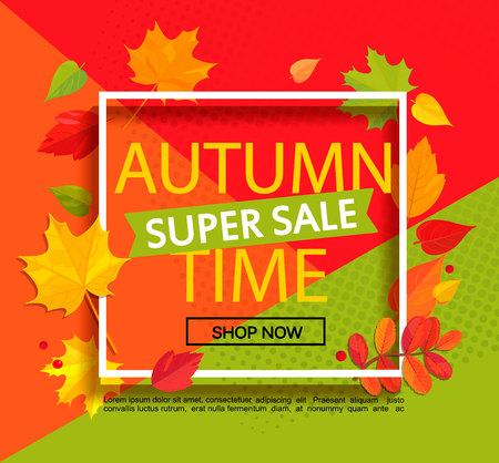 Autumn super sale banner. Stock Illustratie