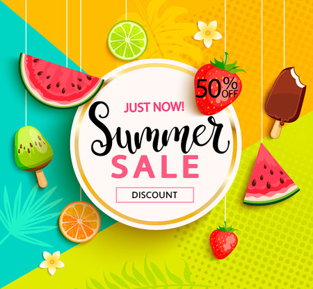 Summer sale with fruits.