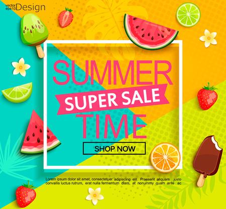 과일과 여름 슈퍼 판매 배너입니다. 일러스트