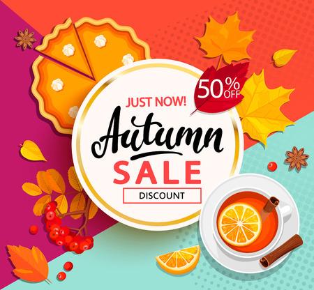 秋の販売のための明るいバナー。