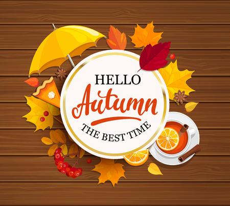 Bonjour Lettrage d'automne en cadre doré. Banque d'images - 82050464