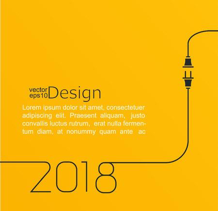Conector y enchufe para el año nuevo 2018. Foto de archivo - 83846181