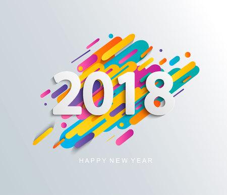 Scheda di design nuovo anno 2018 su sfondo moderno. Archivio Fotografico - 83846178