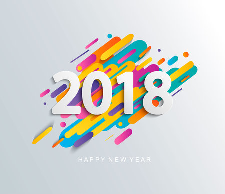 New Year 2018 design card on modern background.