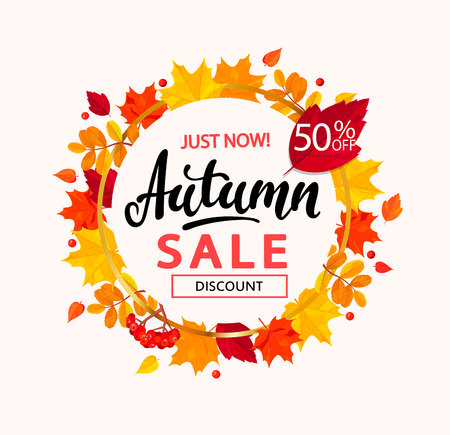 Autumn sale banner design in the frame from autumn leaves.