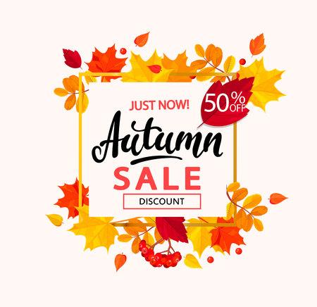バナー フレームの葉からの秋の販売のため。  イラスト・ベクター素材