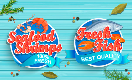 Seafood logos design illustration on blue wooden background