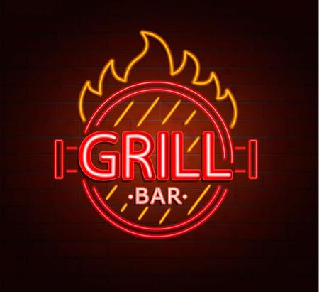 Neon sign of grill bar, bright signboard, light banner. Grill bar logo, emblem and symbol. Vector illustration.