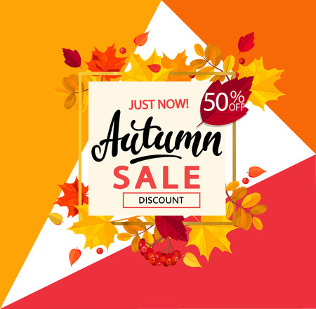 Bright banner for autumn sale in golden frame with pumpkin pie, tea and autumn leaves on geometric background. Vector illustration.