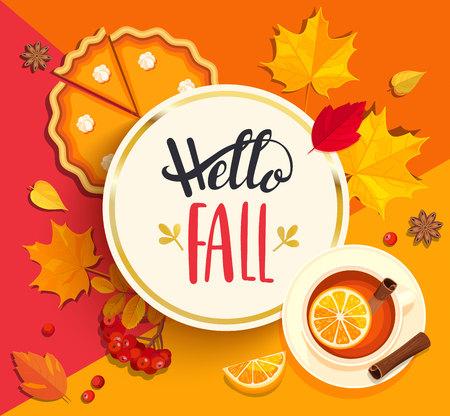 Hallo herfst belettering in gouden cirkelframe op geometrische achtergrond met pupmkin taart, warme thee en herfst bladeren. Vector illustratie.