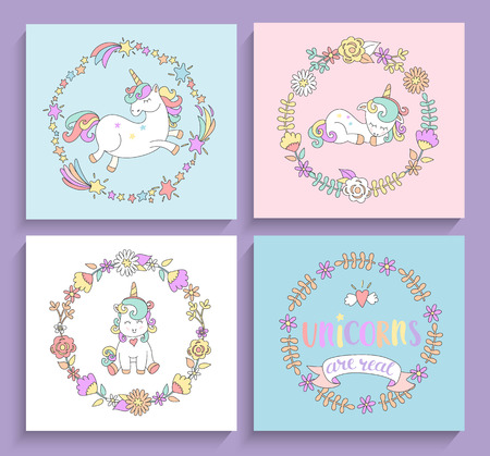Set of magical unicorns cards with circle frames and lettering. Vector illustration for print, greeting cards and other your design.